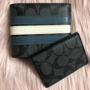 NWT Coach men's 3 in 1 signature striped wallet
